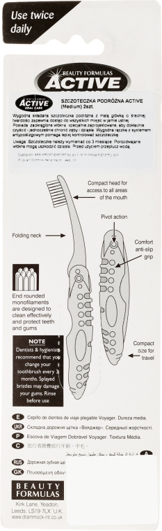 Klappbare Reisezahnbürste mittel rosa, blau 2 St. - Beauty Formulas Voyager Active Folding Dustproof Travel Toothbrush Medium — Bild N2