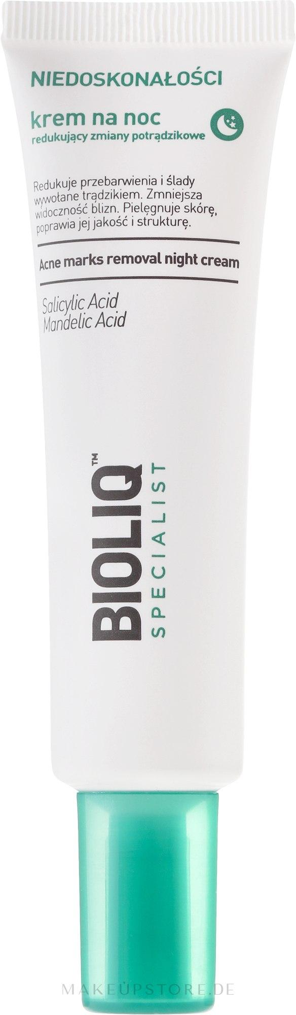 Beruhigende Nachtcreme gegen Akne - Bioliq Specialist Acne Marks Removal Night Cream — Bild 30 ml