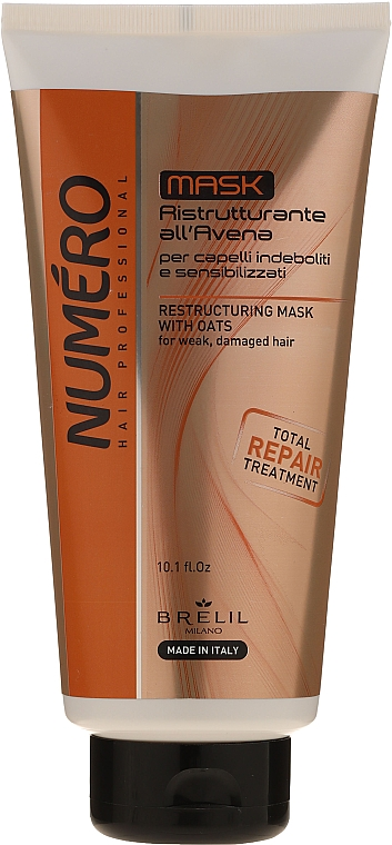 Restrukturierende Haarmaske mit Haferextrakt für schwaches und stapaziertes Haar - Brelil Numero Total Repair Mask