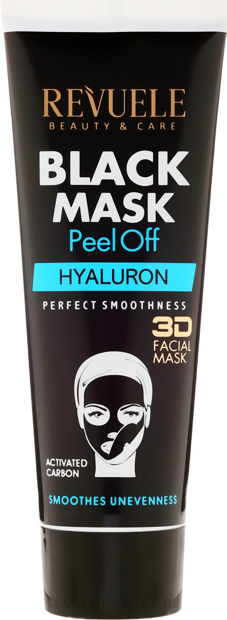 Schwarze Peel-Off Gesichtsmaske mit Hyaluronsäure - Revuele Black Mask Peel Off Hyaluron — Bild 80 ml