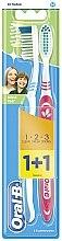 Düfte, Parfümerie und Kosmetik Zahnbürste mittel 1 2 3 Natural Fresh rot, hellblau 2 St. - Oral-B 1 2 3 Natural Fresh 40 Medium