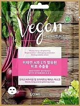 Düfte, Parfümerie und Kosmetik Feuchtigkeitsspendende und aufhellende Anti-Aging Tuchmaske für das Gesicht mit Rübenextrakt und Vitamin A und E - Lomi Lomi Vegan Mask