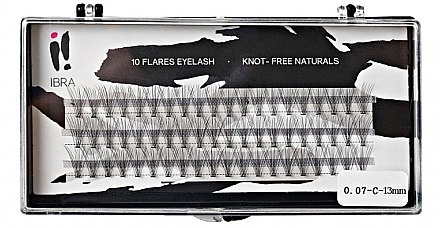 Wimpernbüschel-Set 13 mm - Ibra 10 Flares Eyelash Knot Free Naturals — Bild N1