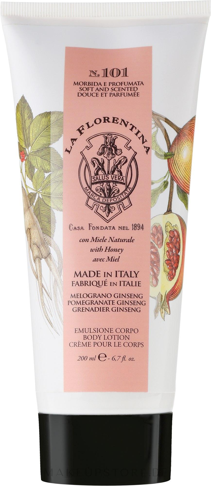 Körperlotion mit Honig, Granatapfel und Ginseng - La Florentina Pomegranate & Ginseng Body Lotion — Bild 200 ml