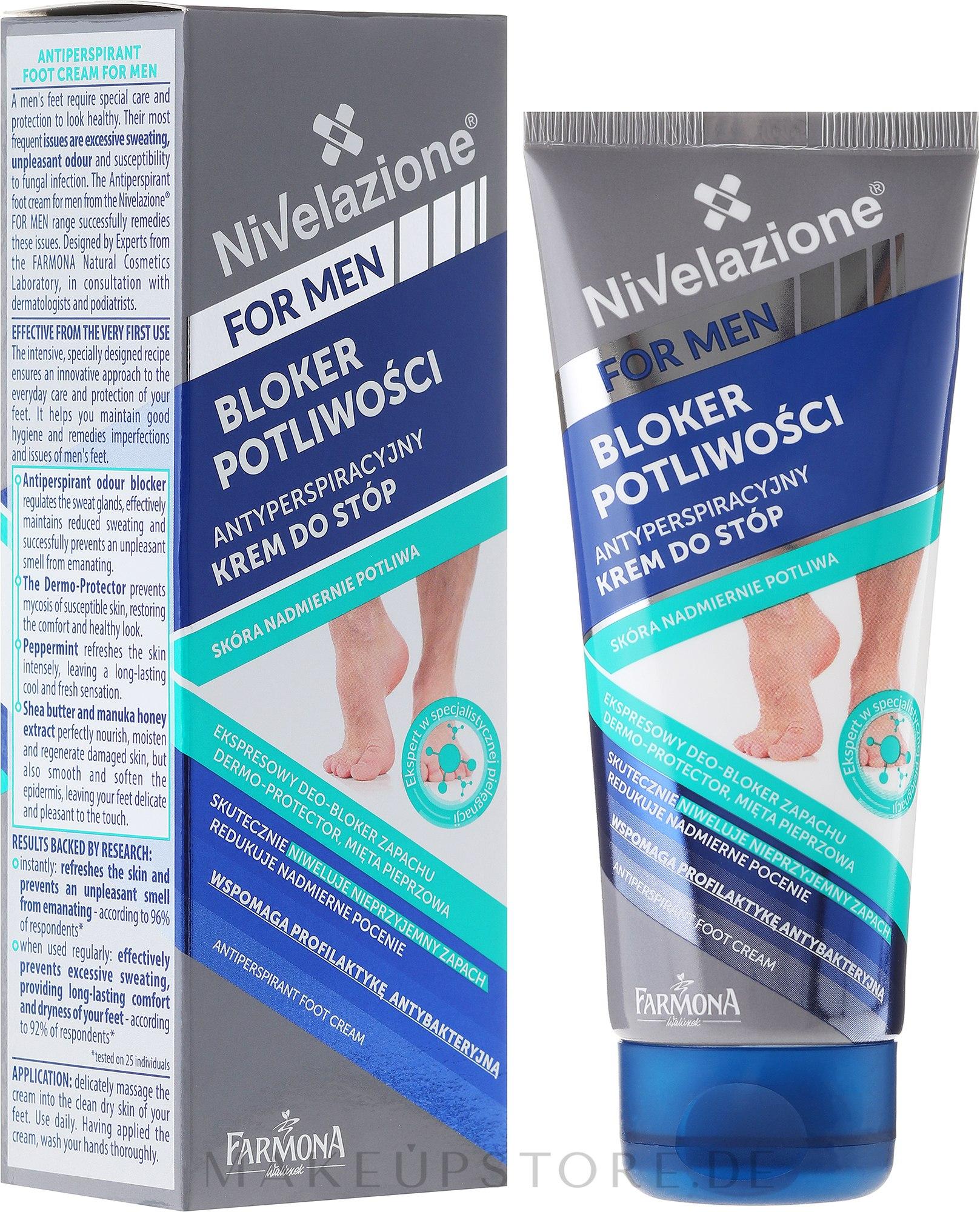 Fußdeocreme Antitranspirant für Männer - Farmona Nivelazione For Men Antiperspirant Foot Cream — Bild 75 ml