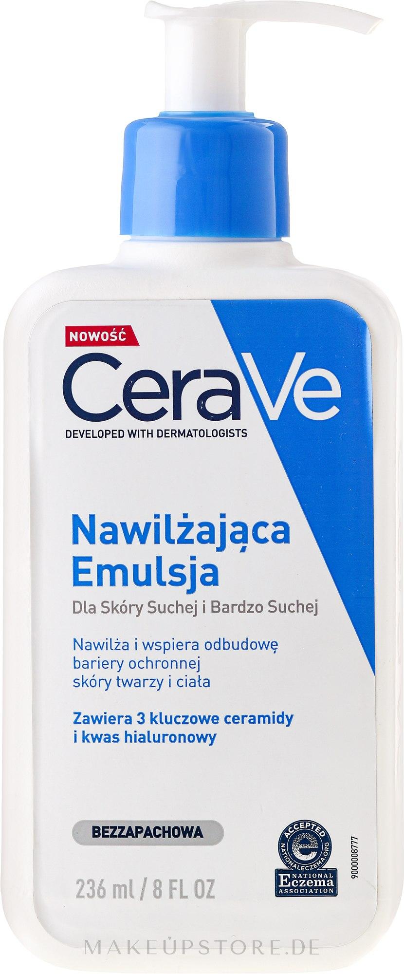 Feuchtigkeitsspendende Gesichts- und Körperlotion für trockene bis sehr trockene Haut - CeraVe Moisturising Lotion — Bild 236 ml