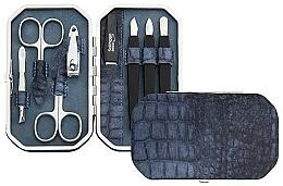 Düfte, Parfümerie und Kosmetik Maniküre-Set 8-tlg. mattblau mit Krokodilmuster - DuKaS Premium Line PL 191MK