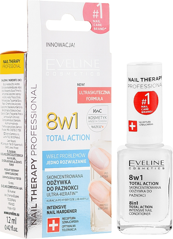8in1 Stärkende Nagelkur - Eveline Cosmetics Nail Therapy Total Action 8 in 1