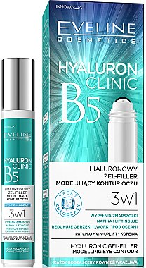 3in1 Augenkonturgel mit Hyaluronsäure - Eveline Cosmetics Hyaluron Clinic Gel Filler Eye Contour Roll-on