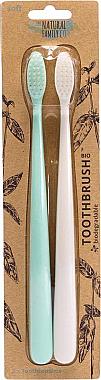 Zahnbürste mit biologisch abbaubarem Griff 2 St. - The Natural Family Co Bio Brush Rivermint & Ivory Desert  — Bild N1