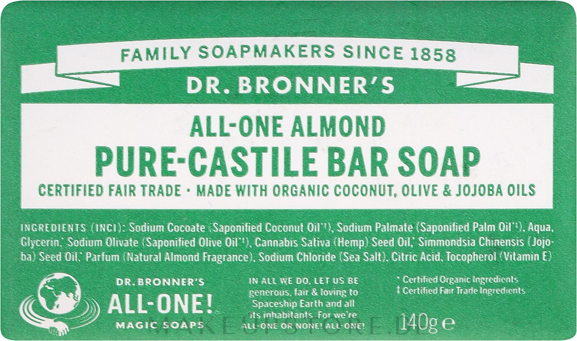 Seife Mandel - Dr. Bronner's Pure Castile Bar Soap Almond — Bild 140 g