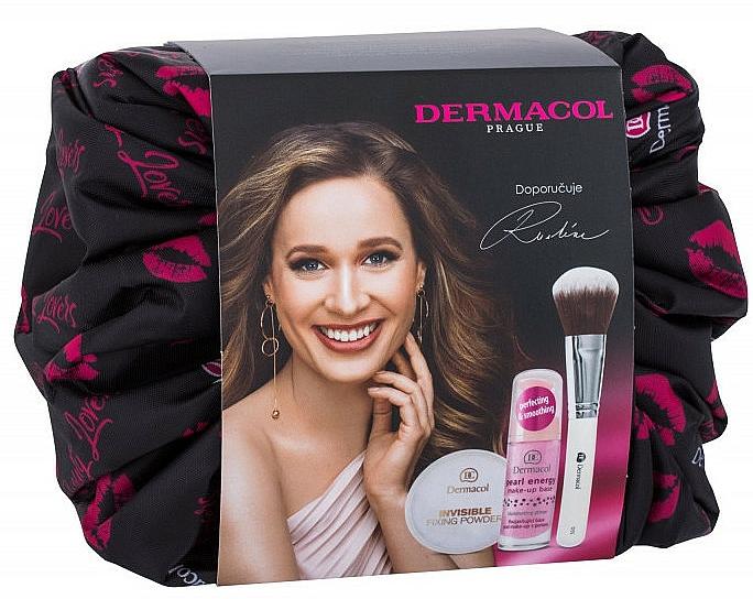 Make-up Set - Dermacol Beauty II (Make-up Basis mit Perlextrakt 20ml + Gesichtspuder 13.5g + Puderpinsel 1 St. + Kosmetiktasche) — Bild N1