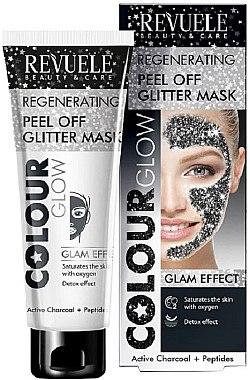 Detox Peelingmaske für das Gesicht mit Aktivkohle und Peptiden - Revuele Color Glow Glitter Mask Pell-Off Regenerating — Bild N1