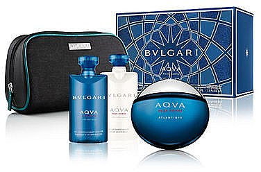 Bvlgari Aqva Pour Homme Atlantiqve - Duftset (Eau de Toilette 100ml + Duschgel 75ml + After Shave Balsam 75ml + Kosmetiktasche) — Bild N1