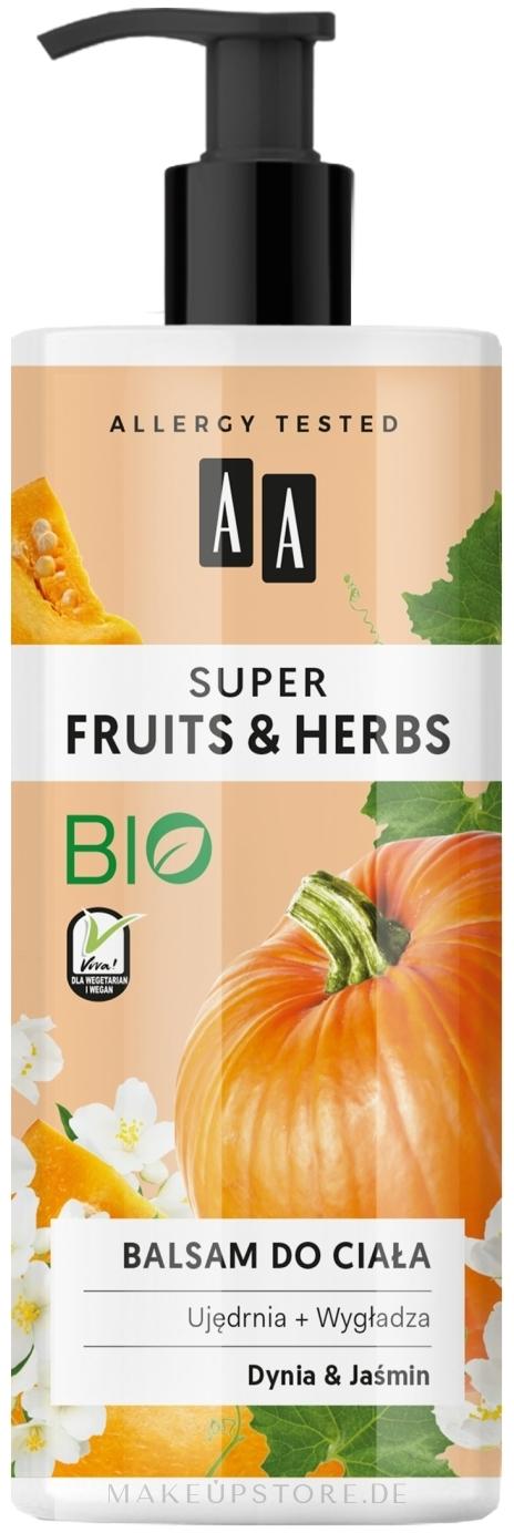 Straffende und glättende Körperlotion mit Kürbis und Jasmin - AA Super Fruits & Herbs — Bild 500 ml