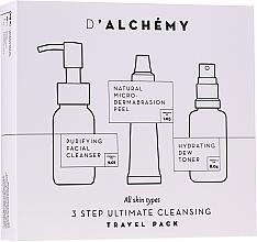 Düfte, Parfümerie und Kosmetik Gesichtspflegeset - D'Alchemy 3 Step Ultimate Cleansing Travel Pack (Gesichtstonikum 30ml + Mizellen-Reinigungswasser 50ml + Gesichtspeeling 15ml)