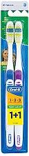 Düfte, Parfümerie und Kosmetik Zahnbürste mittel 1 2 3 Maxi Clean blau, lila 2 St. - Oral-B 1 2 3 Maxi Clean 40 Medium 1+1
