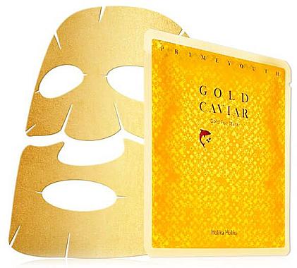 Tuchmaske für das Gesicht mit goldenen Partikeln - Holika Holika Prime Youth Gold Caviar Gold Foil Mask — Bild N1
