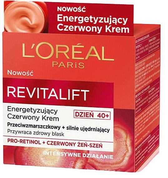 Energiespendende und straffende Anti-Falten Tagescreme mit Pro-Retinol und rotem Ginseng - L`Oreal Revitalift Red Cream 40+ — Bild N2